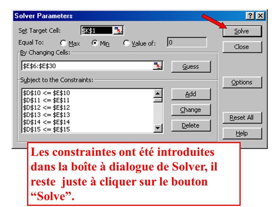 Ou bien vous pouvez utiliser Excel pour formuler au moindre coût, en utilisant Solver dans le menu Outils.