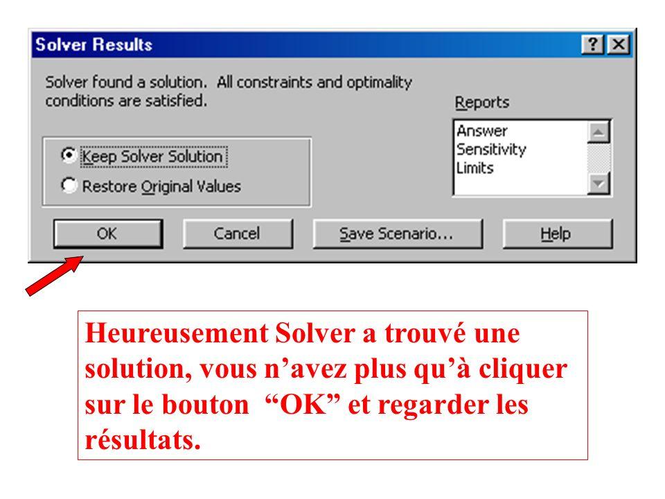 Les constraintes ont été introduites dans la boîte à dialogue de Solver, il reste juste à cliquer sur le bouton Solve.