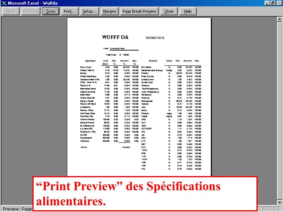 Résultats de formulation Les informations de la feuille Formulation sont automatiquement transférées dans la feuille Spécifications alimentaires en vue dune impression en noir et blanc sur une seule feuille de papier.