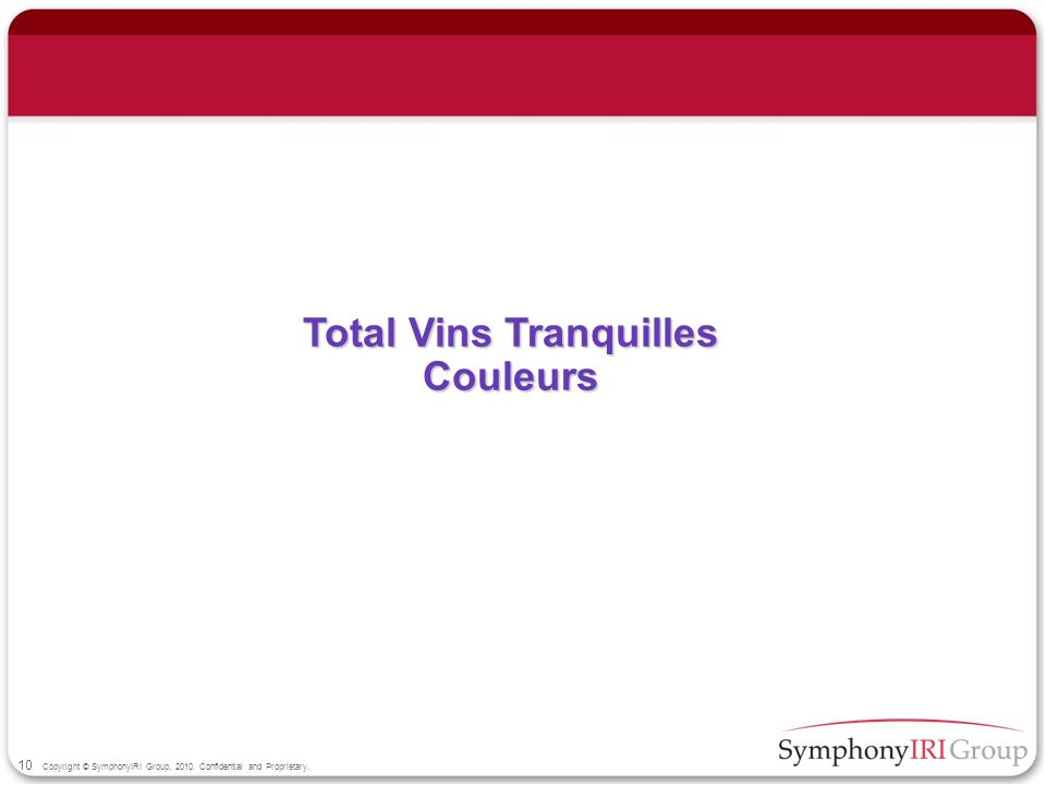 10 Copyright © SymphonyIRI Group, 2010. Confidential and Proprietary. Total Vins Tranquilles Couleurs