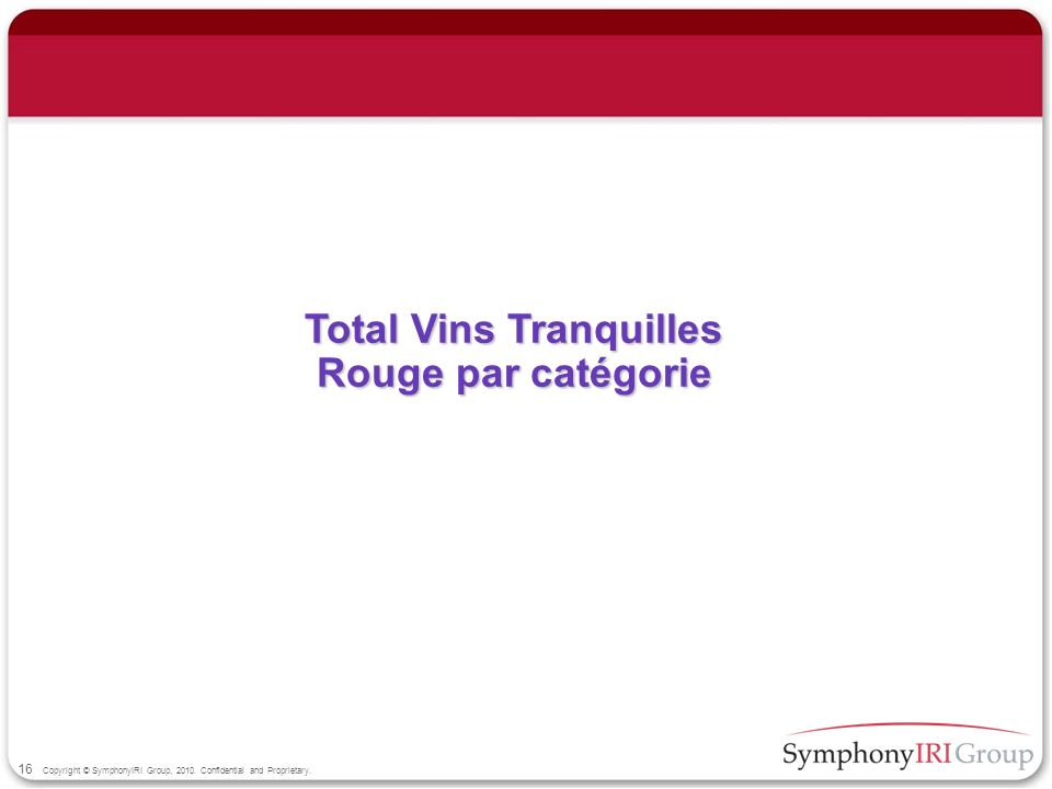 16 Copyright © SymphonyIRI Group, 2010. Confidential and Proprietary. Total Vins Tranquilles Rouge par catégorie