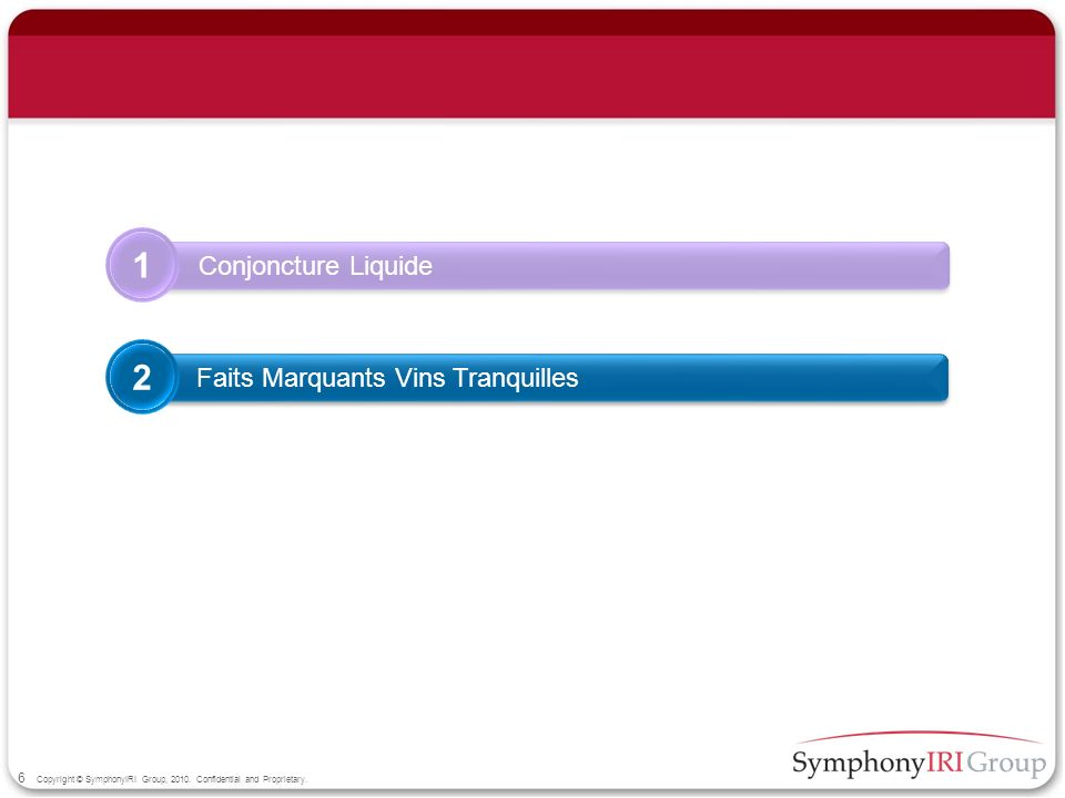 6 Copyright © SymphonyIRI Group, 2010. Confidential and Proprietary. Conjoncture Liquide 1 Faits Marquants Vins Tranquilles 2