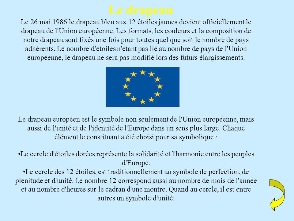 Le drapeau Le 26 mai 1986 le drapeau bleu aux 12 étoiles jaunes devient officiellement le drapeau de l Union européenne.