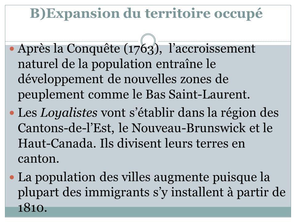 B)Expansion du territoire occupé Après la Conquête (1763), laccroissement naturel de la population entraîne le développement de nouvelles zones de peu