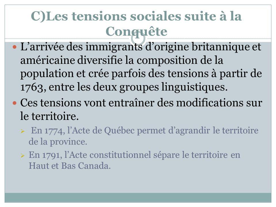C) Les tensions sociales suite à la Conquête Larrivée des immigrants dorigine britannique et américaine diversifie la composition de la population et