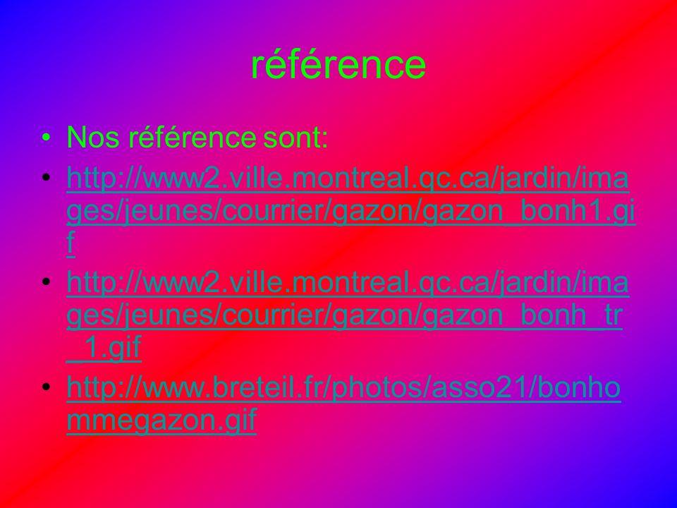 référence Nos référence sont: http://www2.ville.montreal.qc.ca/jardin/ima ges/jeunes/courrier/gazon/gazon_bonh1.gi fhttp://www2.ville.montreal.qc.ca/j