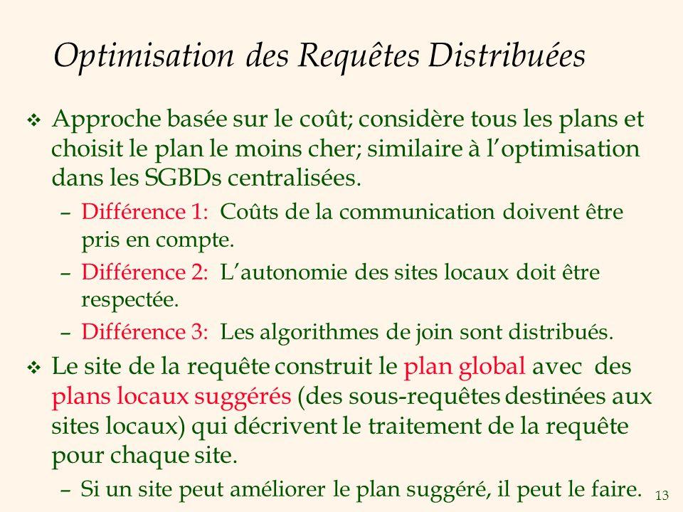 13 Optimisation des Requêtes Distribuées v Approche basée sur le coût; considère tous les plans et choisit le plan le moins cher; similaire à loptimisation dans les SGBDs centralisées.
