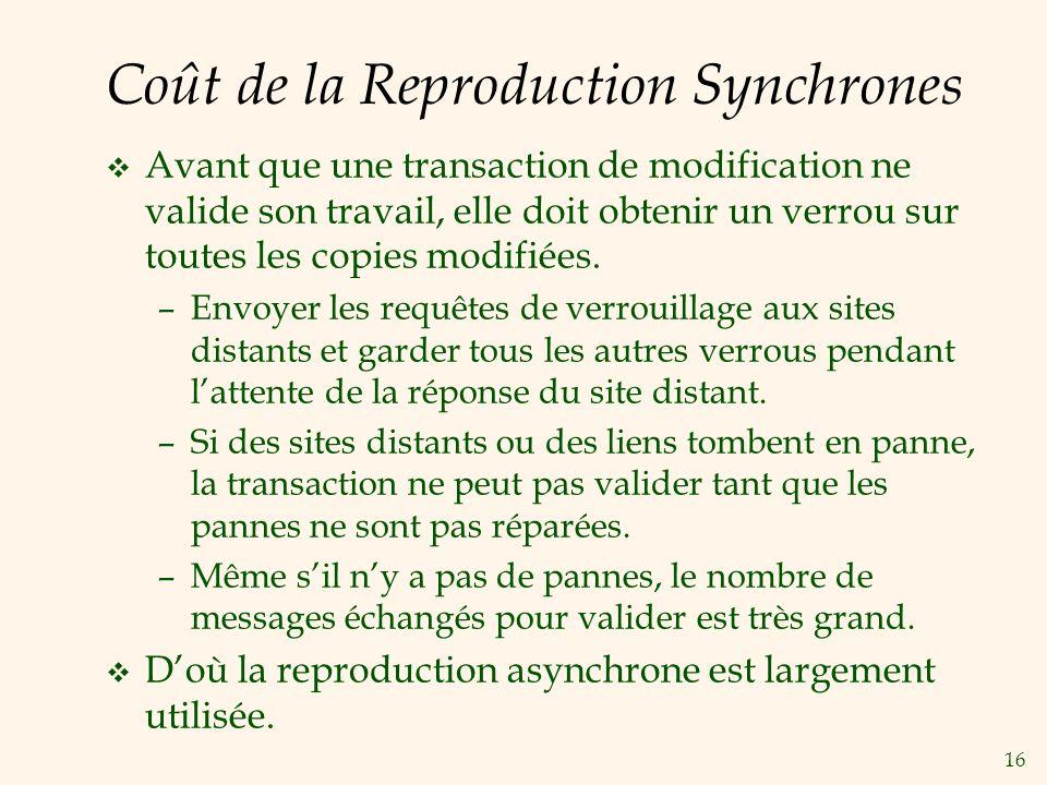16 Coût de la Reproduction Synchrones v Avant que une transaction de modification ne valide son travail, elle doit obtenir un verrou sur toutes les copies modifiées.