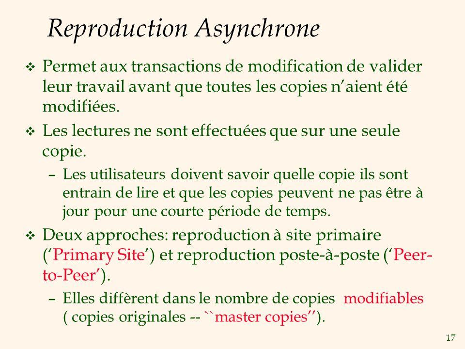17 Reproduction Asynchrone v Permet aux transactions de modification de valider leur travail avant que toutes les copies naient été modifiées.