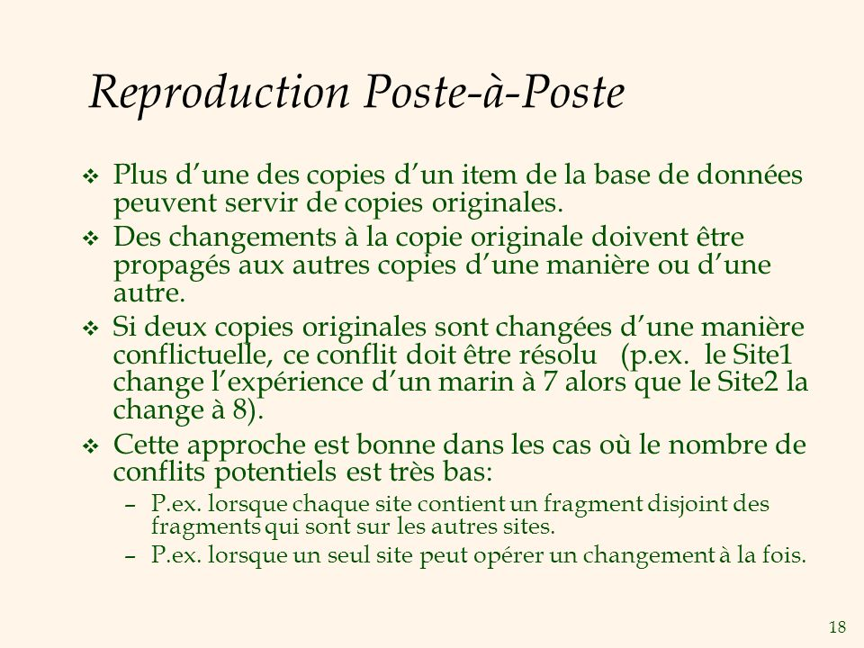 18 Reproduction Poste-à-Poste v Plus dune des copies dun item de la base de données peuvent servir de copies originales.