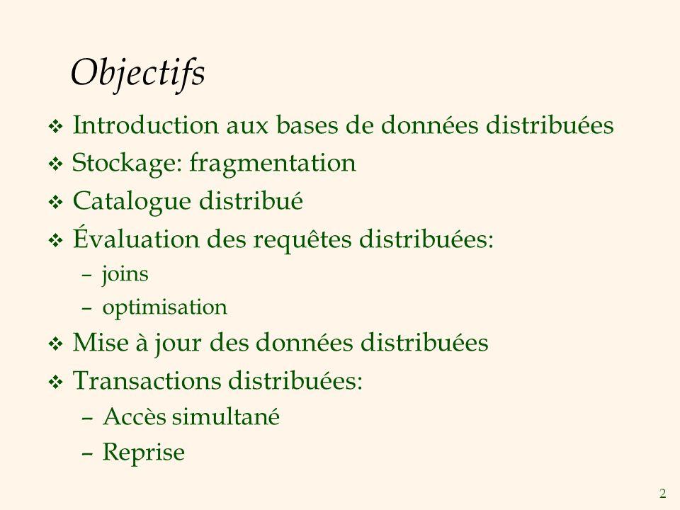 23 Transactions Distribuées v Une transaction est soumise à un site, mais peut accéder aux données sur des sites distants.
