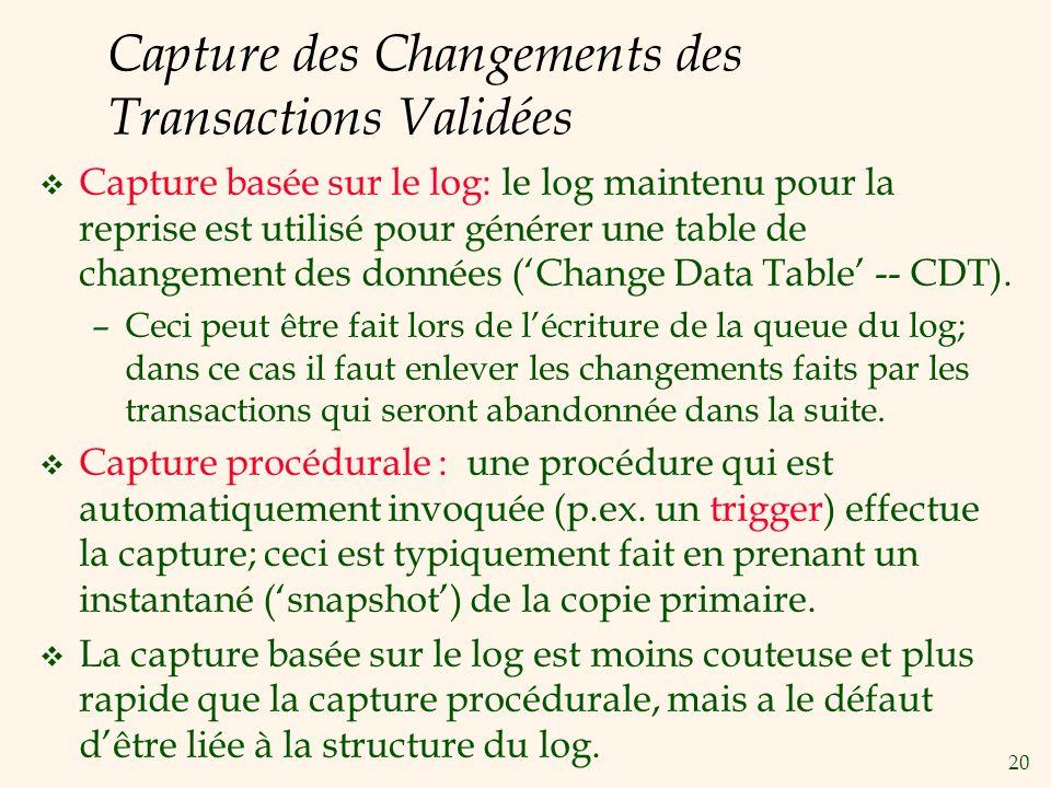 20 Capture des Changements des Transactions Validées v Capture basée sur le log: le log maintenu pour la reprise est utilisé pour générer une table de changement des données (Change Data Table -- CDT).