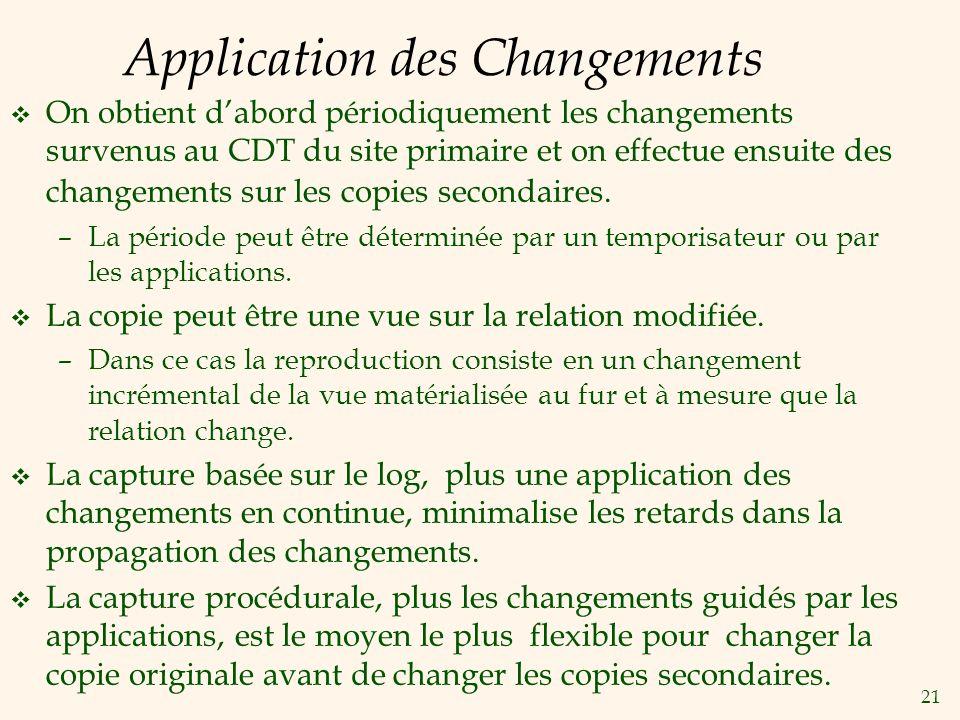 21 Application des Changements v On obtient dabord périodiquement les changements survenus au CDT du site primaire et on effectue ensuite des changements sur les copies secondaires.