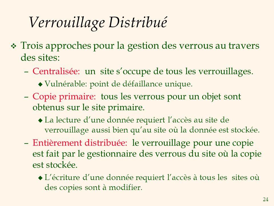 24 Verrouillage Distribué v Trois approches pour la gestion des verrous au travers des sites: –Centralisée: un site soccupe de tous les verrouillages.