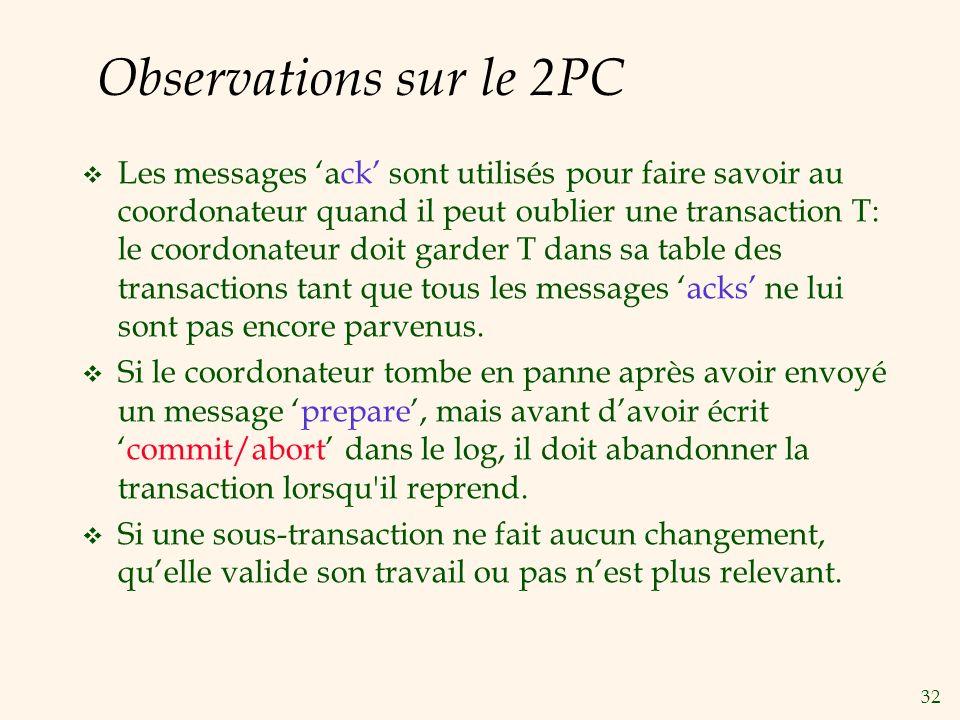 32 Observations sur le 2PC v Les messages ack sont utilisés pour faire savoir au coordonateur quand il peut oublier une transaction T: le coordonateur doit garder T dans sa table des transactions tant que tous les messages acks ne lui sont pas encore parvenus.