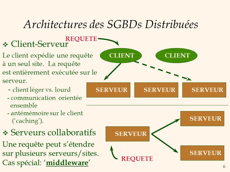 27 Le protocole « Two-Phase Commit » (2PC) v Le site où la transaction est initiée est le coordonateur; les autres sites impliquées sont des subordonnés.