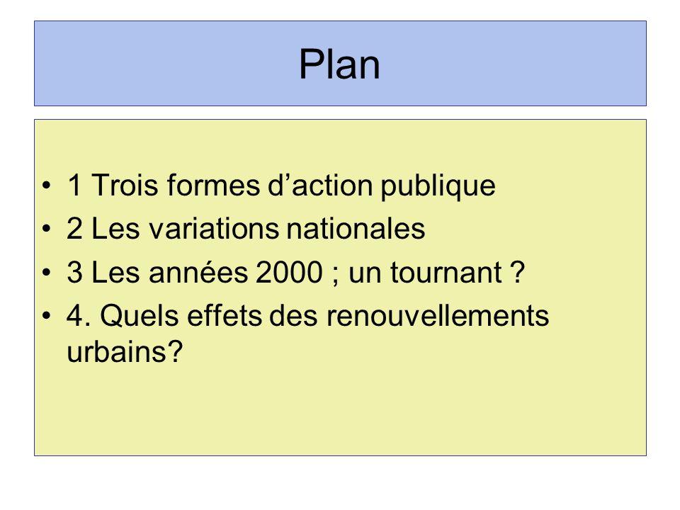Plan 1 Trois formes daction publique 2 Les variations nationales 3 Les années 2000 ; un tournant ? 4. Quels effets des renouvellements urbains?