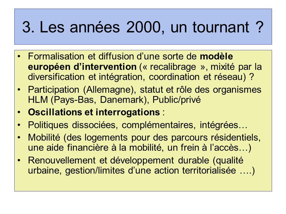 3. Les années 2000, un tournant ? Formalisation et diffusion dune sorte de modèle européen dintervention (« recalibrage », mixité par la diversificati