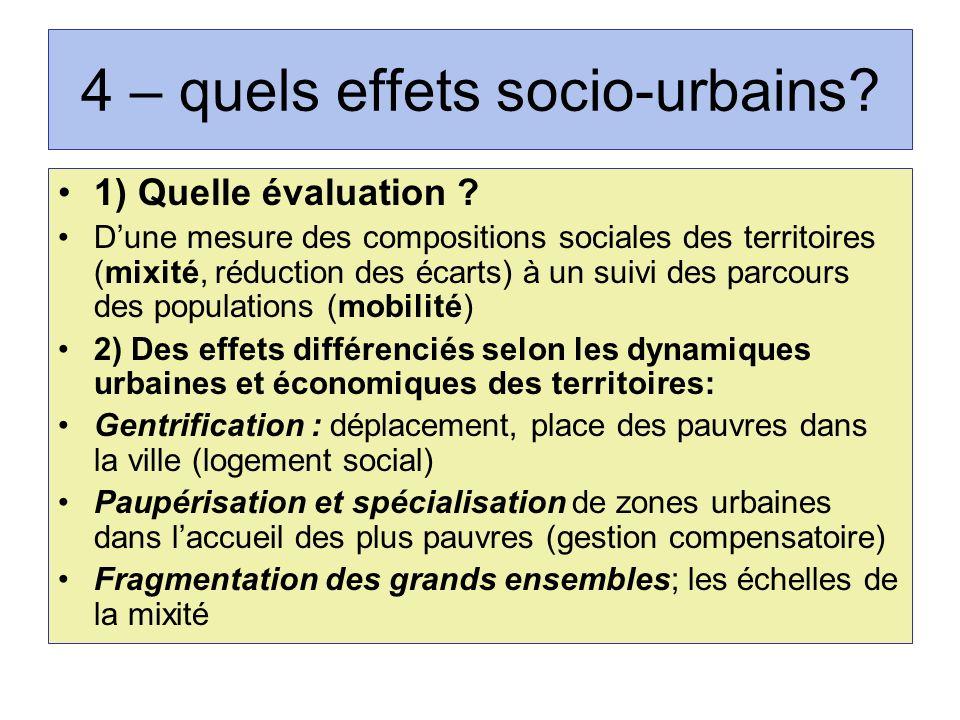 4 – quels effets socio-urbains? 1) Quelle évaluation ? Dune mesure des compositions sociales des territoires (mixité, réduction des écarts) à un suivi