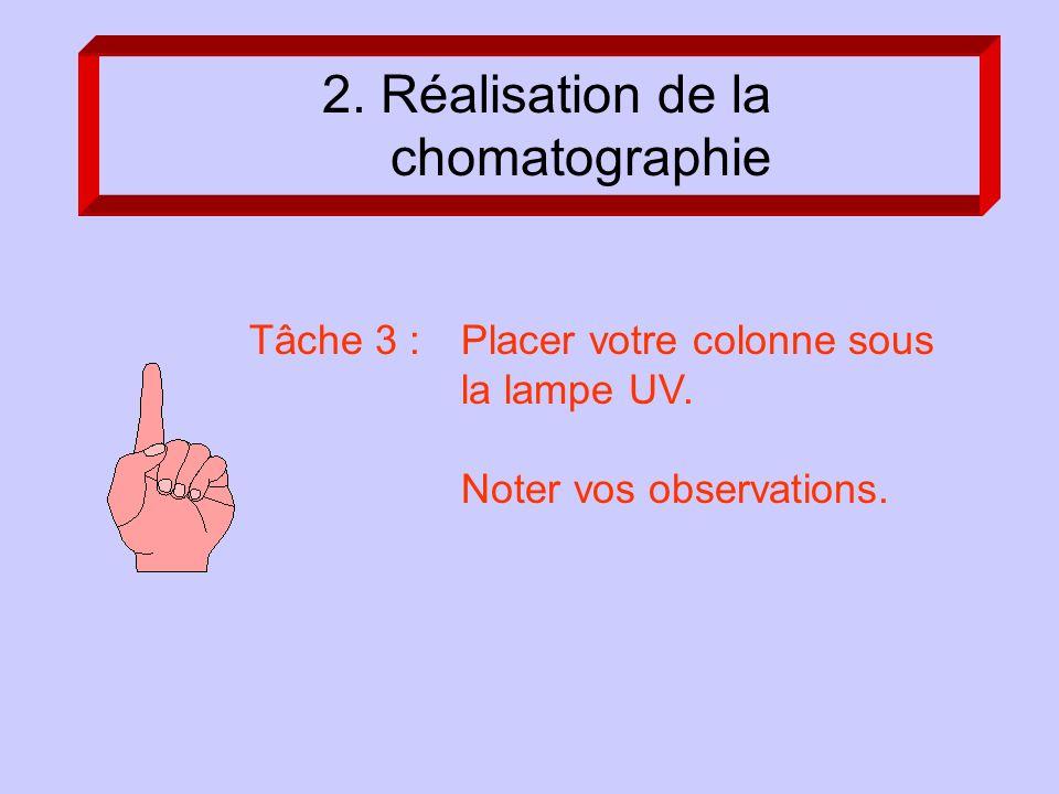 Tâche 3 : Placer votre colonne sous la lampe UV. Noter vos observations.