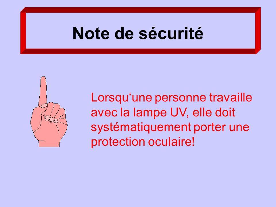 Note de sécurité Lorsquune personne travaille avec la lampe UV, elle doit systématiquement porter une protection oculaire!