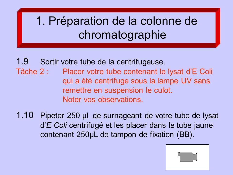 1.9 Sortir votre tube de la centrifugeuse.