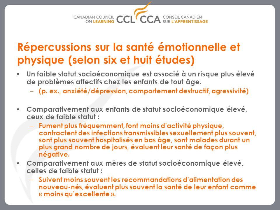 5 Répercussions sur la santé émotionnelle et physique (selon six et huit études) Un faible statut socioéconomique est associé à un risque plus élevé de problèmes affectifs chez les enfants de tout âge.