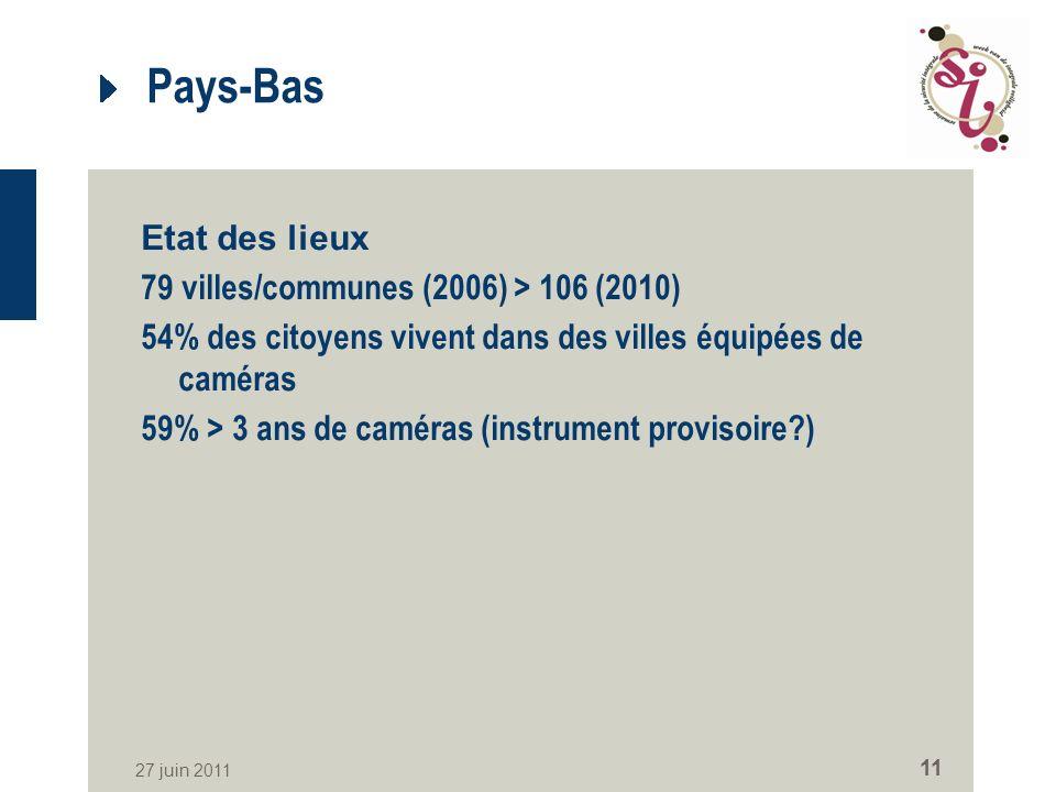 27 juin 2011 11 Pays-Bas Etat des lieux 79 villes/communes (2006) > 106 (2010) 54% des citoyens vivent dans des villes équipées de caméras 59% > 3 ans de caméras (instrument provisoire )