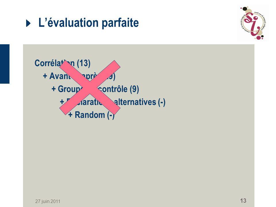 27 juin 2011 13 Lévaluation parfaite Corrélation (13) + Avant et après(29) + Groupe de contrôle (9) + Déclarations alternatives (-) + Random (-)