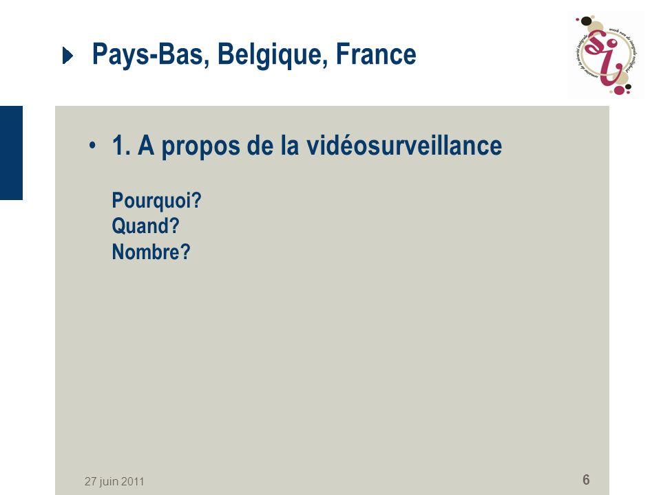 27 juin 2011 6 Pays-Bas, Belgique, France 1.A propos de la vidéosurveillance Pourquoi.