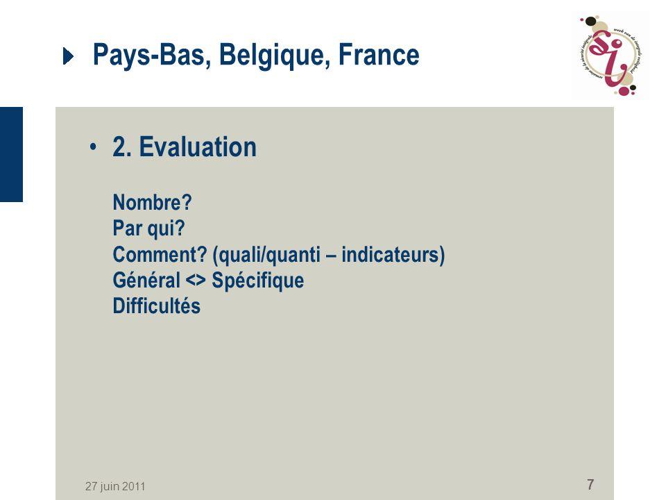 27 juin 2011 7 Pays-Bas, Belgique, France 2. Evaluation Nombre.