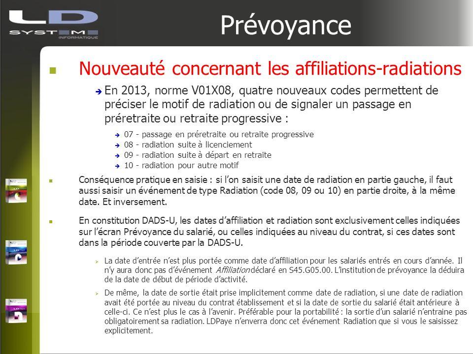 Prévoyance Nouveauté concernant les affiliations-radiations En 2013, norme V01X08, quatre nouveaux codes permettent de préciser le motif de radiation