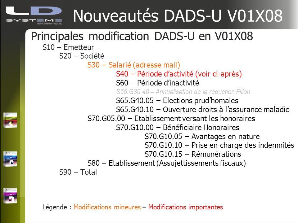 Nouveautés DADS-U V01X08 Principales modification DADS-U en V01X08 S10 – Emetteur S20 – Société S30 – Salarié (adresse mail) S40 – Période dactivité (