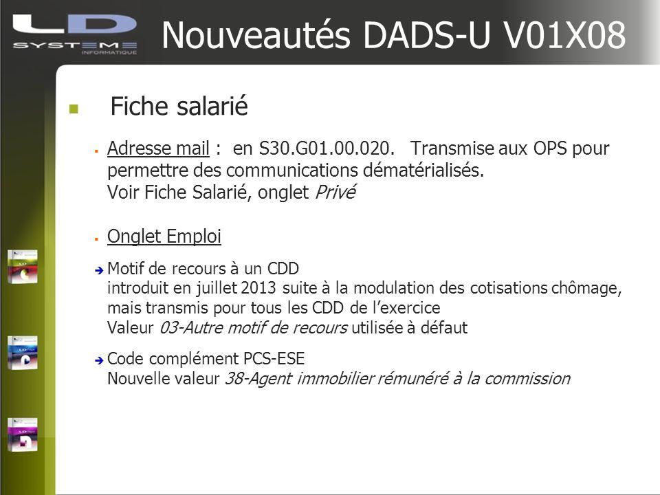 Nouveautés DADS-U V01X08 Fiche salarié Adresse mail : en S30.G01.00.020. Transmise aux OPS pour permettre des communications dématérialisés. Voir Fich