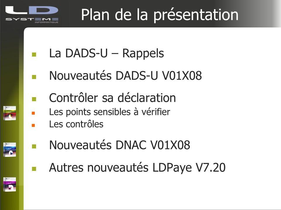 Plan de la présentation La DADS-U – Rappels Nouveautés DADS-U V01X08 Contrôler sa déclaration Les points sensibles à vérifier Les contrôles Nouveautés