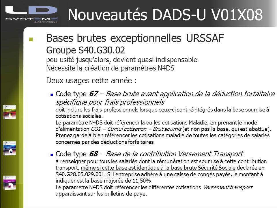 Nouveautés DADS-U V01X08 Bases brutes exceptionnelles URSSAF Groupe S40.G30.02 peu usité jusqualors, devient quasi indispensable Nécessite la création