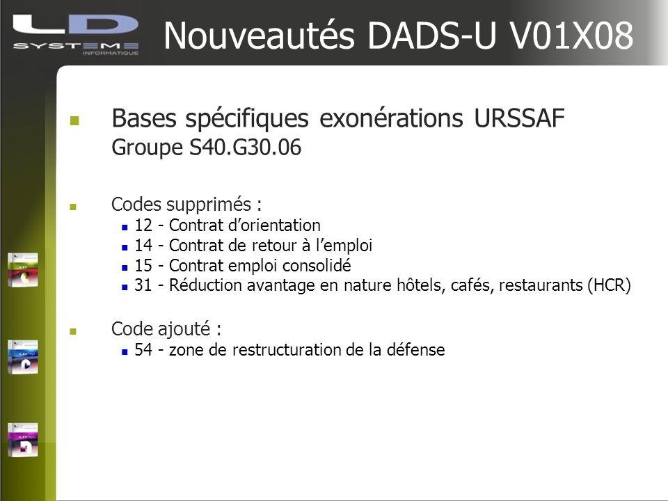 Nouveautés DADS-U V01X08 Bases spécifiques exonérations URSSAF Groupe S40.G30.06 Codes supprimés : 12 - Contrat dorientation 14 - Contrat de retour à