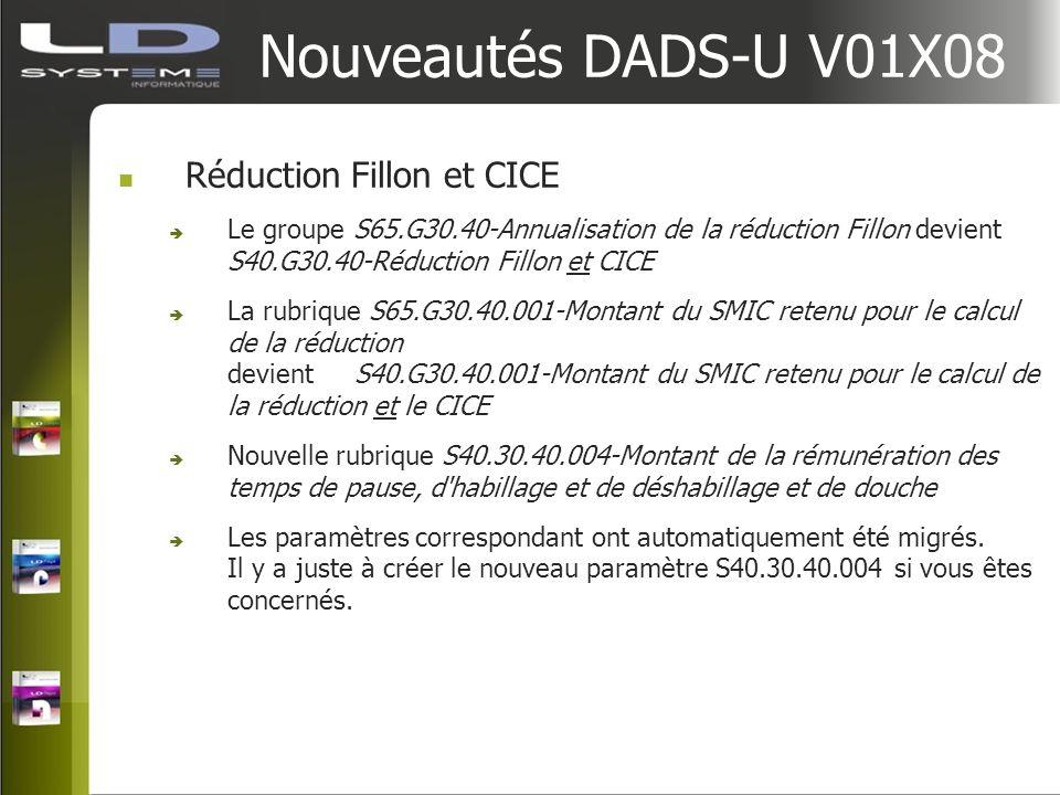 Nouveautés DADS-U V01X08 Réduction Fillon et CICE Le groupe S65.G30.40-Annualisation de la réduction Fillon devient S40.G30.40-Réduction Fillon et CIC