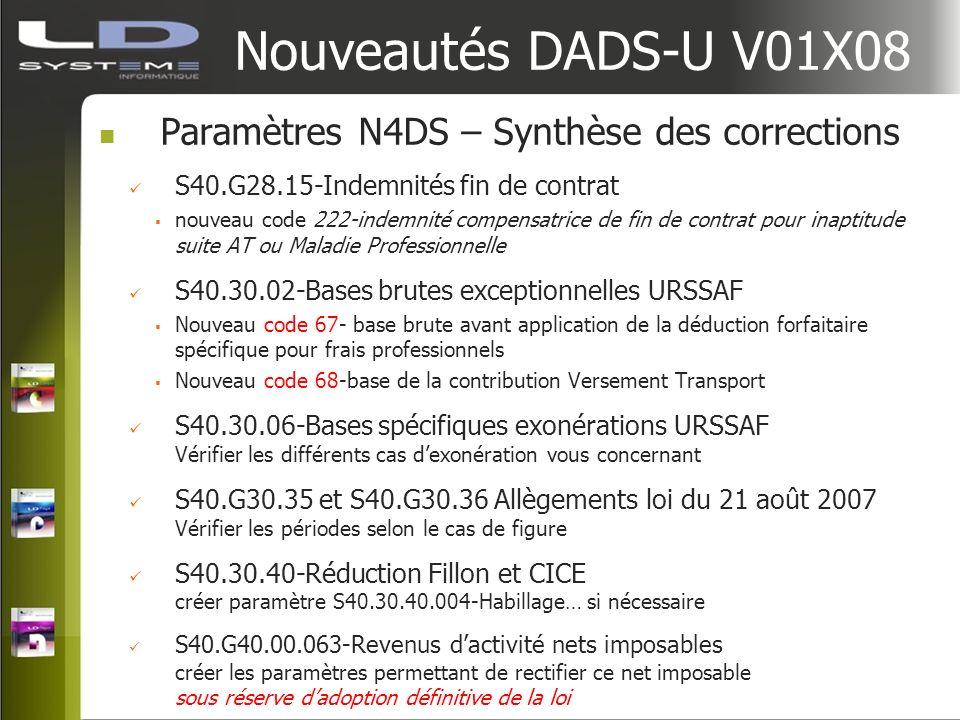 Nouveautés DADS-U V01X08 Paramètres N4DS – Synthèse des corrections S40.G28.15-Indemnités fin de contrat nouveau code 222-indemnité compensatrice de f