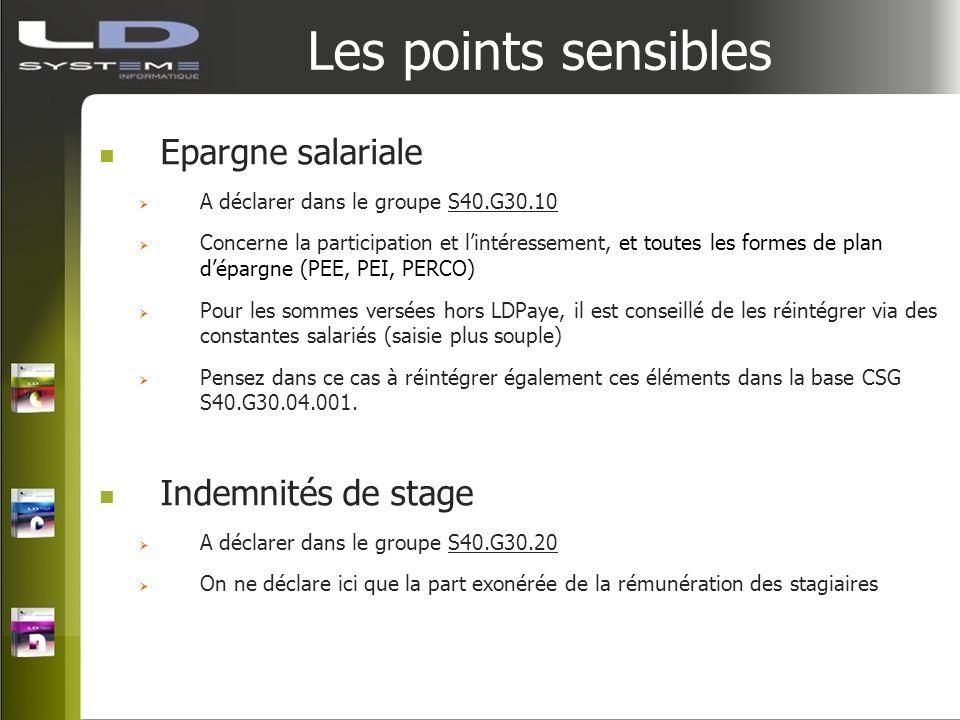 Les points sensibles Epargne salariale A déclarer dans le groupe S40.G30.10 Concerne la participation et lintéressement, et toutes les formes de plan