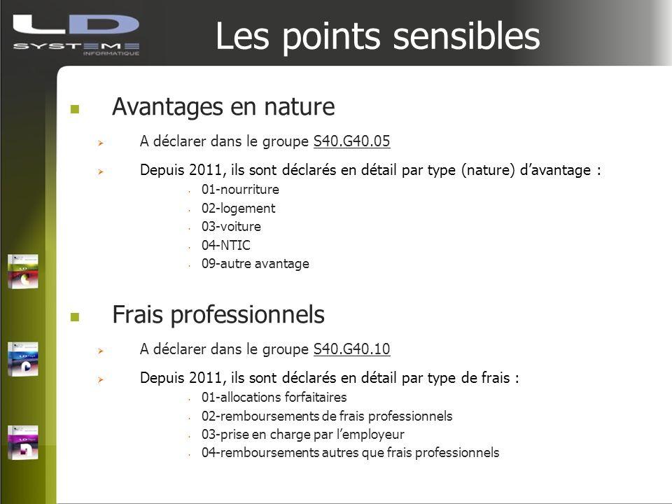 Les points sensibles Avantages en nature A déclarer dans le groupe S40.G40.05 Depuis 2011, ils sont déclarés en détail par type (nature) davantage : 0