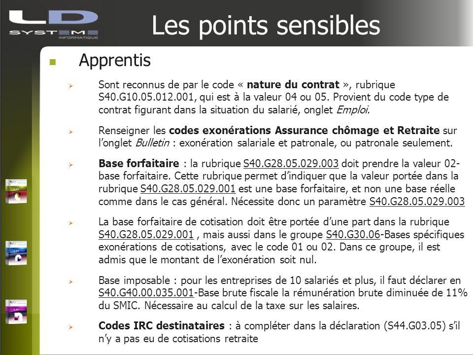Les points sensibles Apprentis Sont reconnus de par le code « nature du contrat », rubrique S40.G10.05.012.001, qui est à la valeur 04 ou 05. Provient