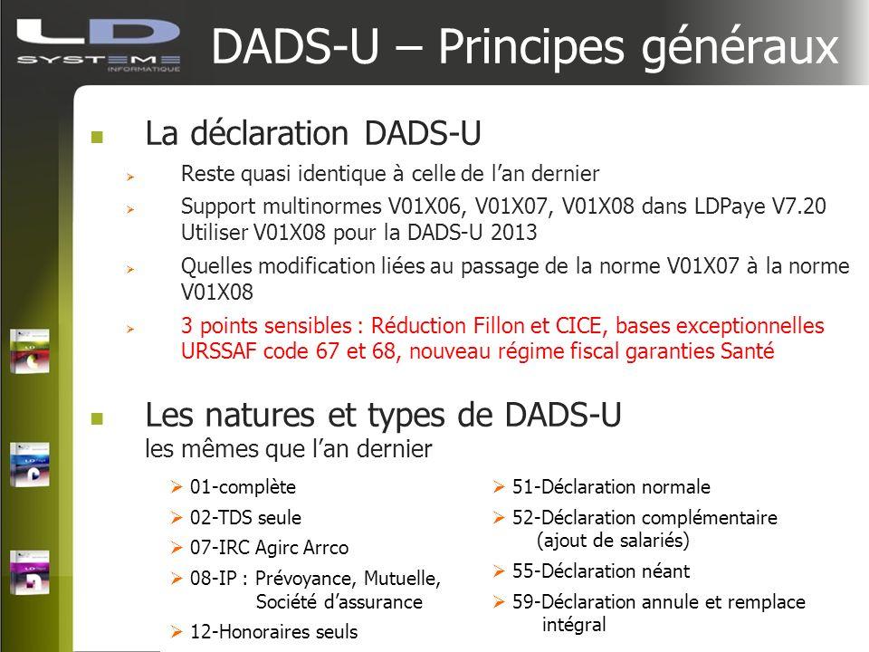 DADS-U – Principes généraux La déclaration DADS-U Reste quasi identique à celle de lan dernier Support multinormes V01X06, V01X07, V01X08 dans LDPaye