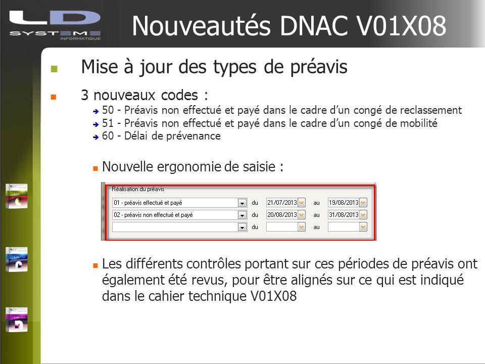 Nouveautés DNAC V01X08 Mise à jour des types de préavis 3 nouveaux codes : 50 - Préavis non effectué et payé dans le cadre dun congé de reclassement 5
