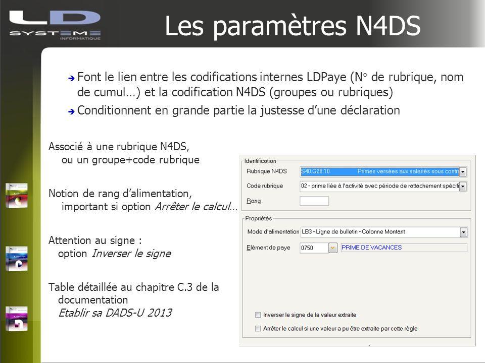 Les paramètres N4DS Font le lien entre les codifications internes LDPaye (N° de rubrique, nom de cumul…) et la codification N4DS (groupes ou rubriques
