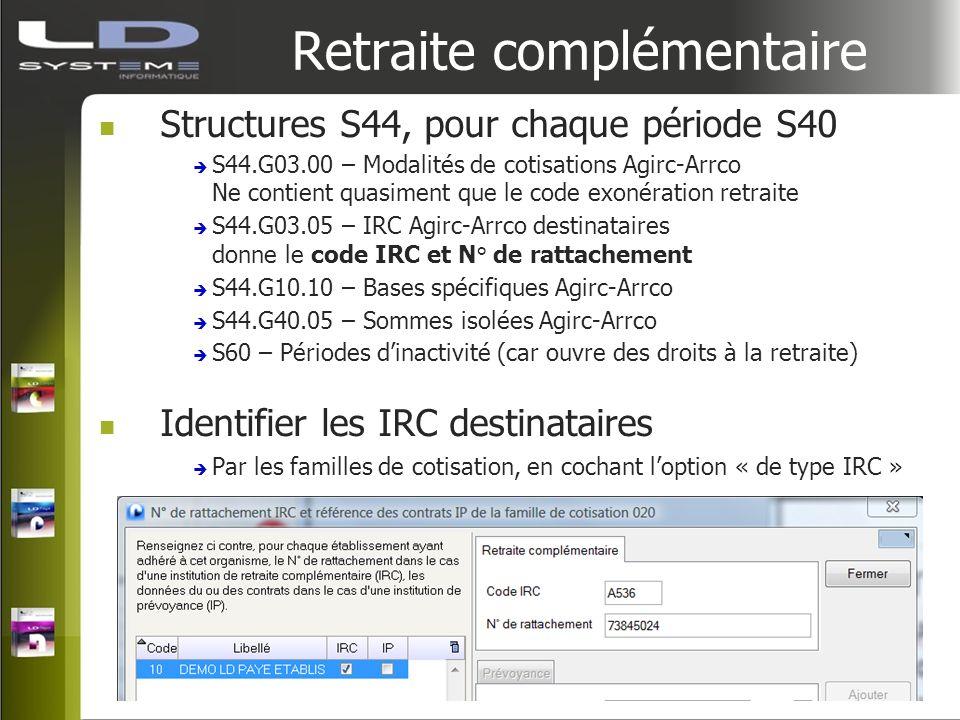 Retraite complémentaire Structures S44, pour chaque période S40 S44.G03.00 – Modalités de cotisations Agirc-Arrco Ne contient quasiment que le code ex