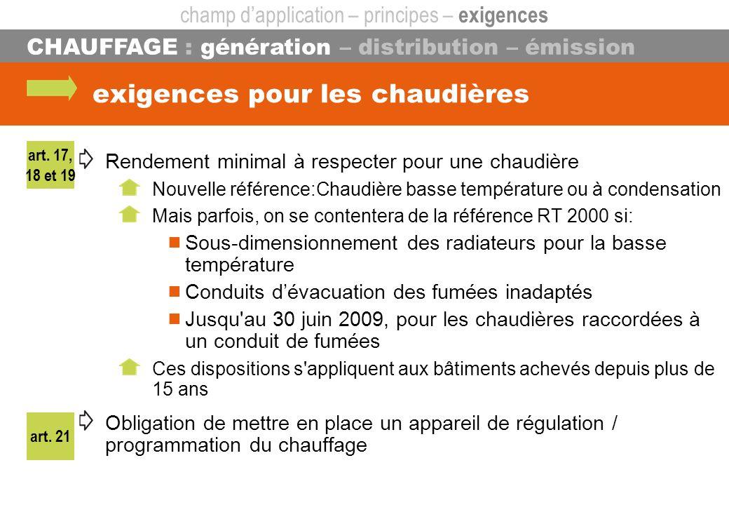 art. 21 CHAUFFAGE : génération – distribution – émission exigences pour les chaudières Rendement minimal à respecter pour une chaudière Nouvelle référ