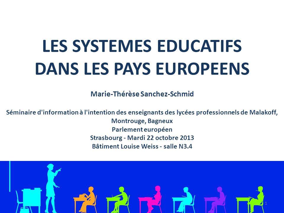 LES SYSTEMES EDUCATIFS DANS LES PAYS EUROPEENS Marie-Thérèse Sanchez-Schmid Séminaire d'information à l'intention des enseignants des lycées professio