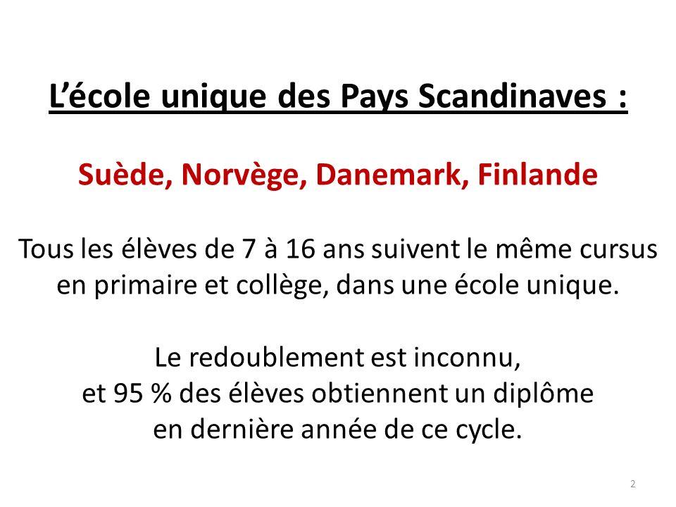 Lécole unique des Pays Scandinaves : Suède, Norvège, Danemark, Finlande Tous les élèves de 7 à 16 ans suivent le même cursus en primaire et collège, dans une école unique.
