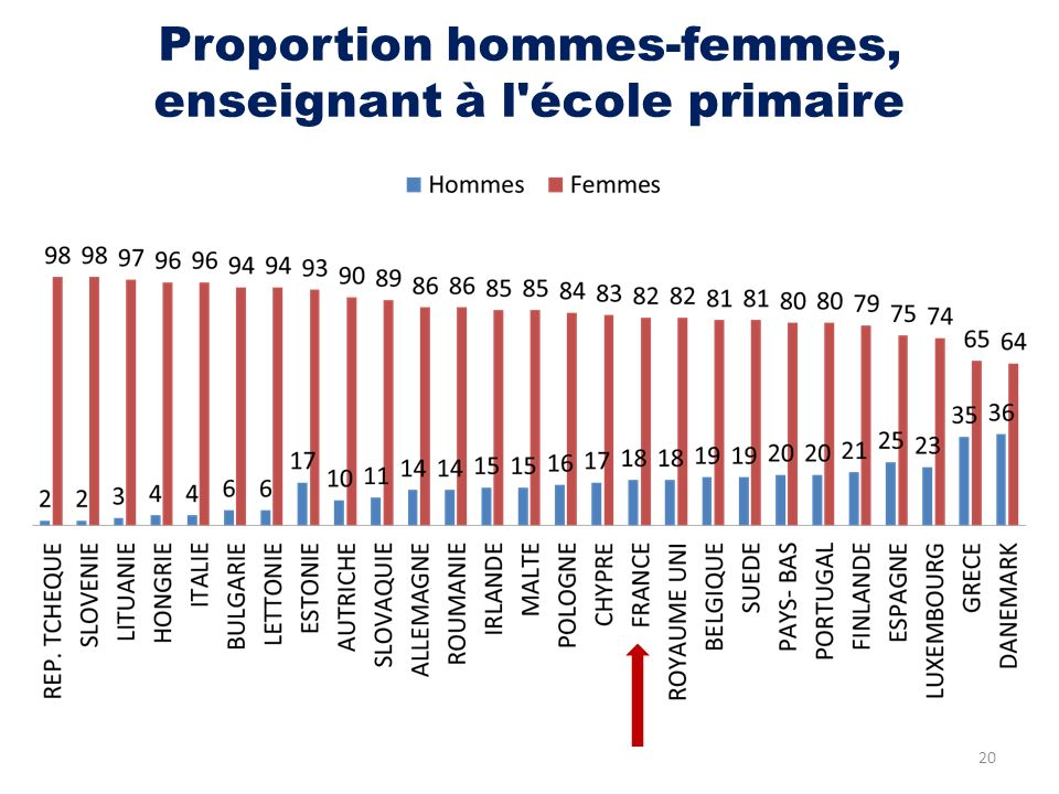Proportion hommes-femmes, enseignant à l'école primaire 20